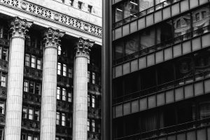 columns and exterior architecture in black and white