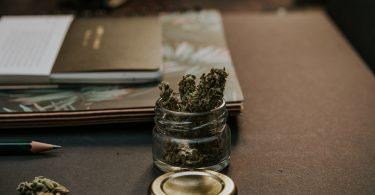 cannabis on desk