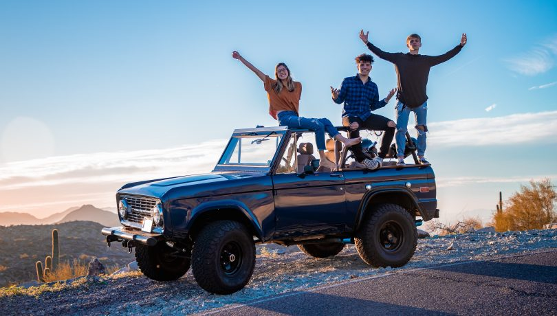 kids on bronco jeep travel
