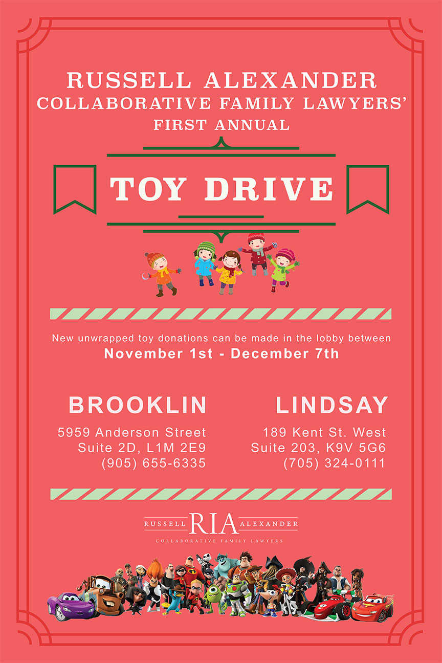 Poster for Russell Alexander Collaborative Family Lawyers' Toy Drive