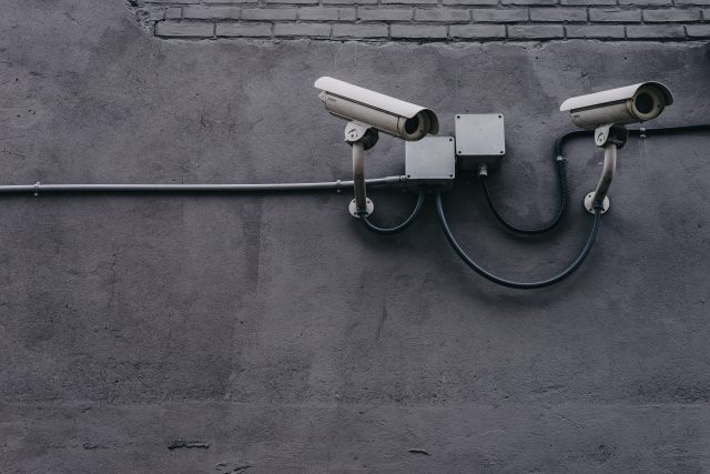 grey security cameras