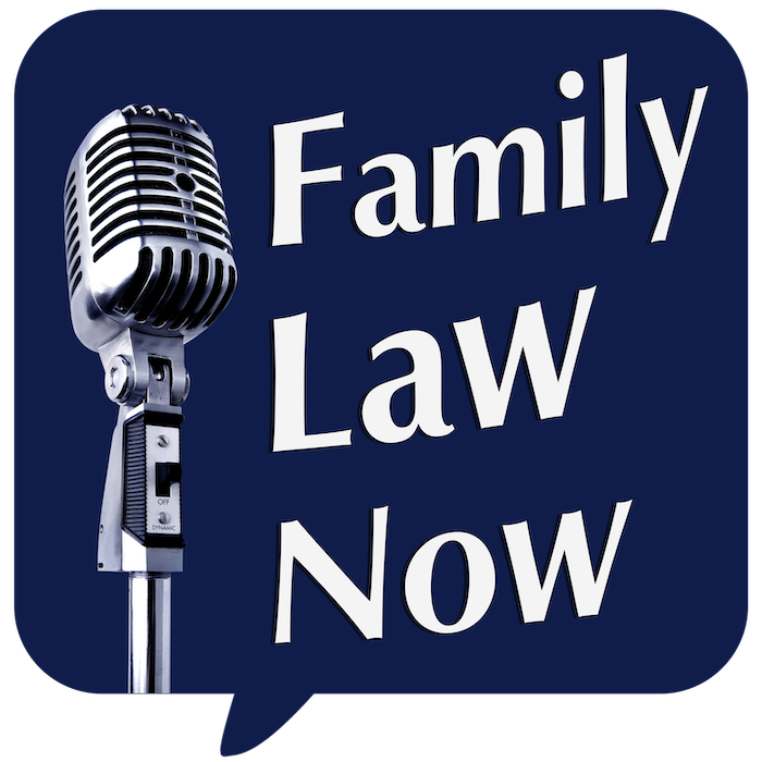 Family Law Now podcast logo retro mic speach bubble
