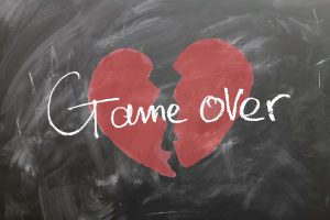 chalk board broken heart game over
